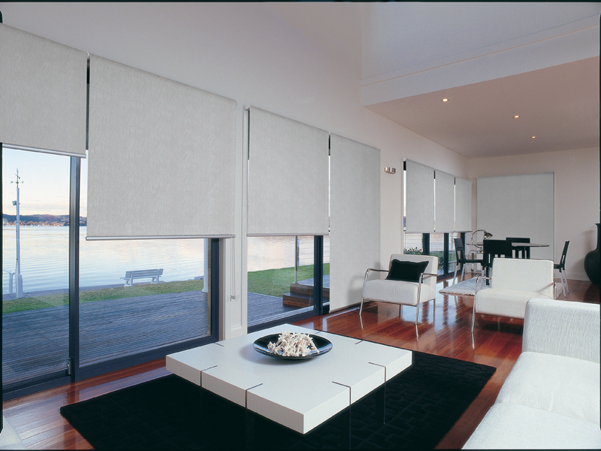 Roller blinds in a living area