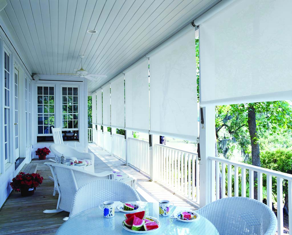 Fabric straight drop awnings
