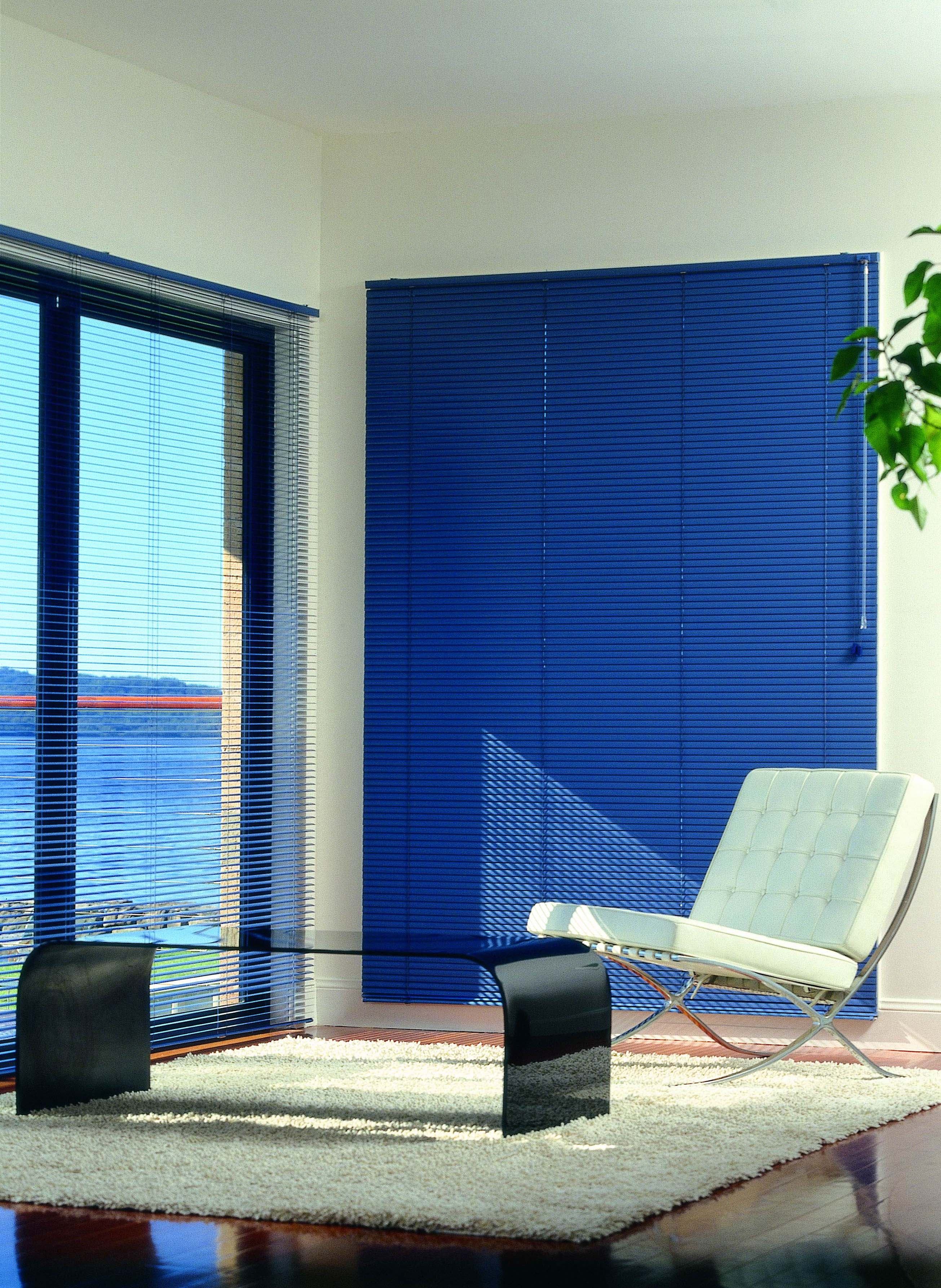 Blue aluminium Venetian blinds closed