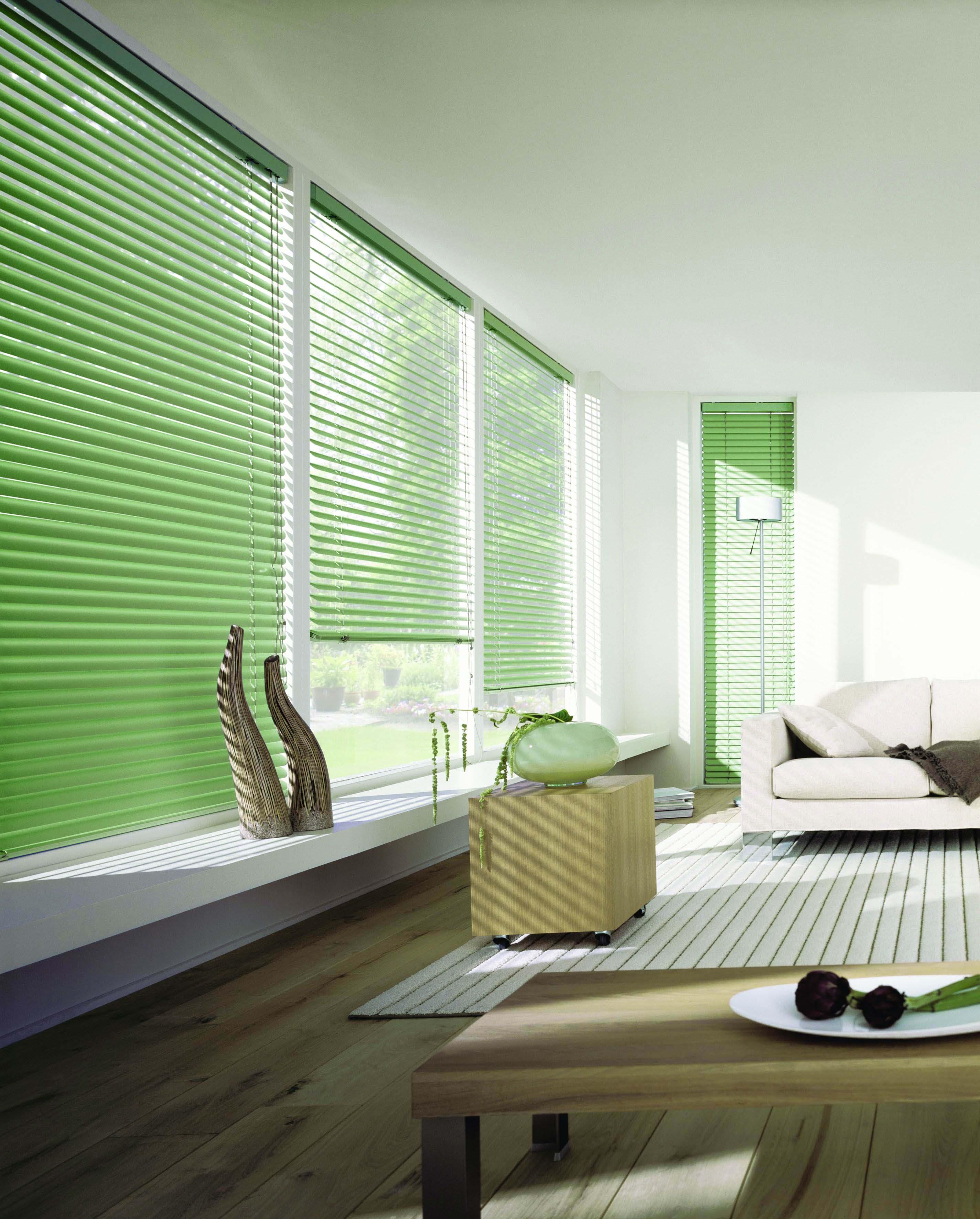Green aluminium Venetian blinds