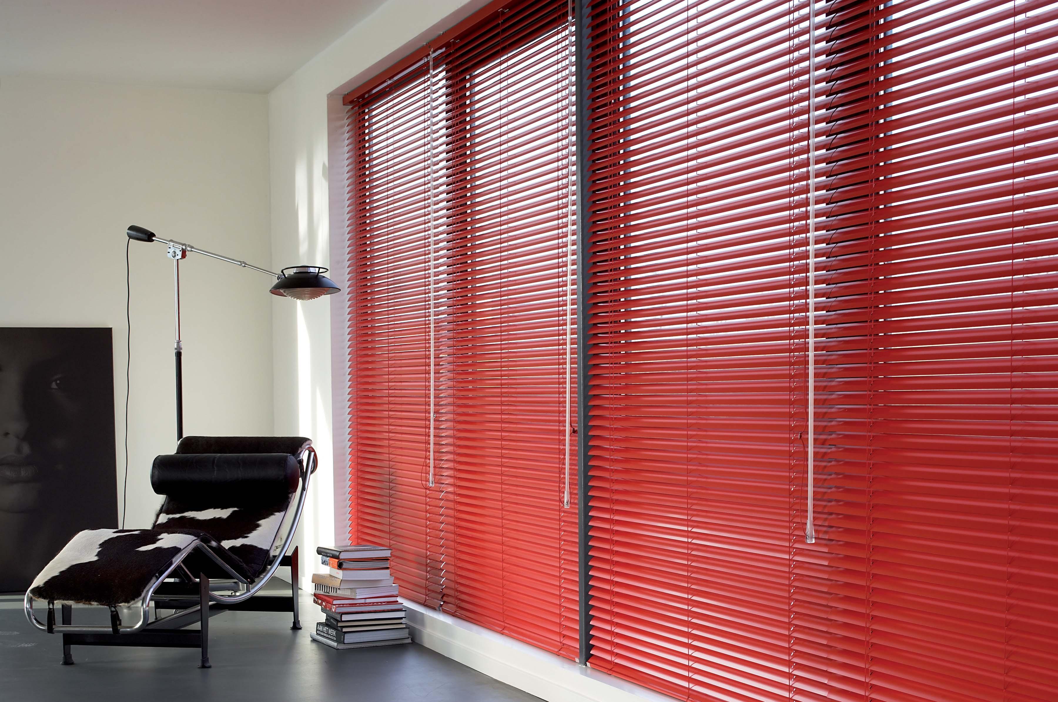 Red aluminium Venetian blinds office
