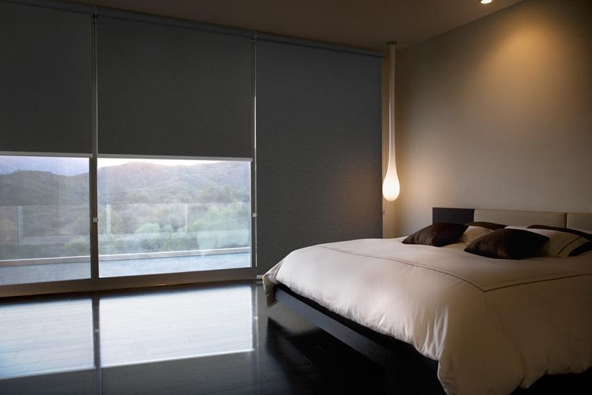 Blockout roller blinds in bedroom