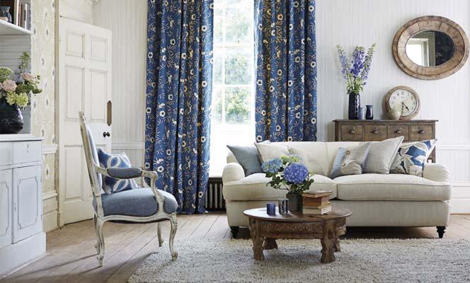 Custom made curtains blue floral