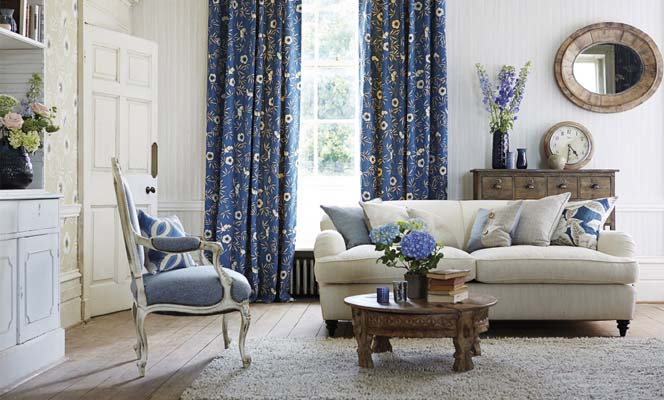 Custom made curtains blue floral