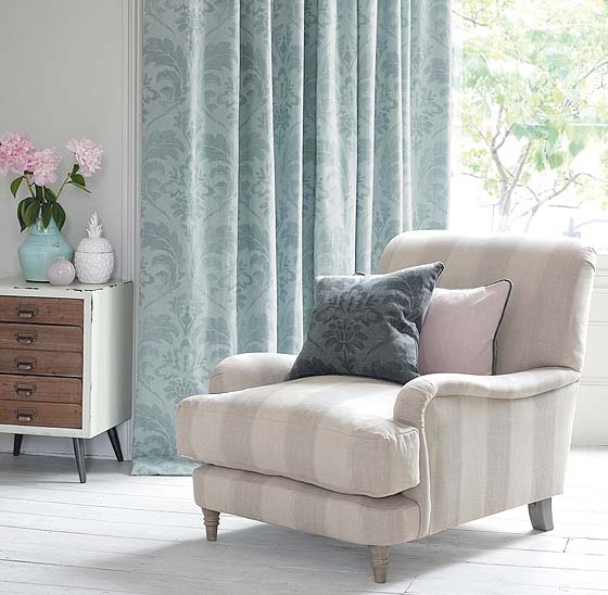 S fold curtains blue pattern