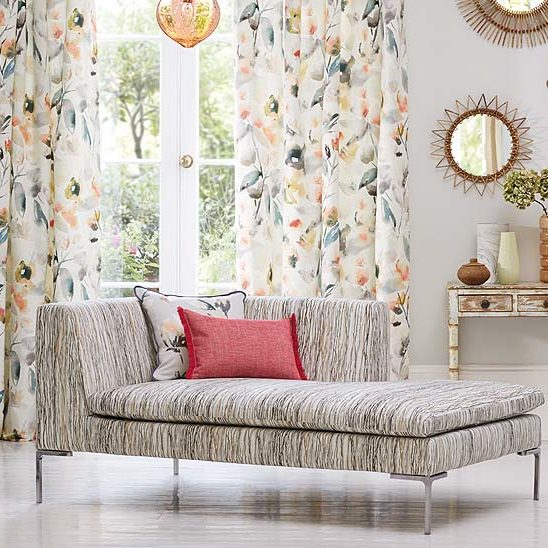 Thermal insulating curtains floral lounge area