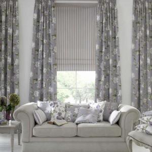 Custom curtains grey floral