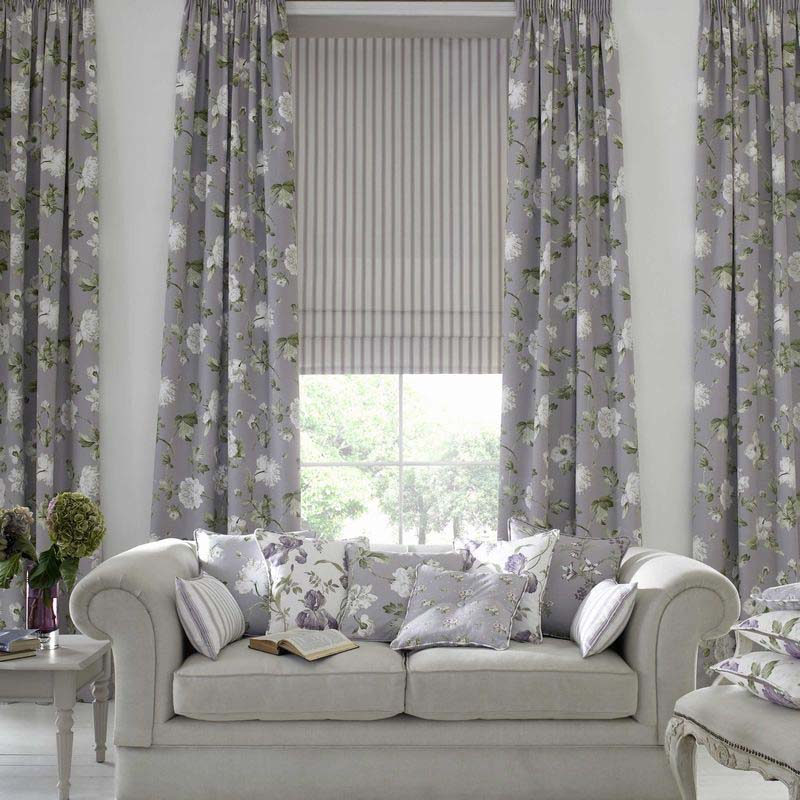 Custom curtains grey floral
