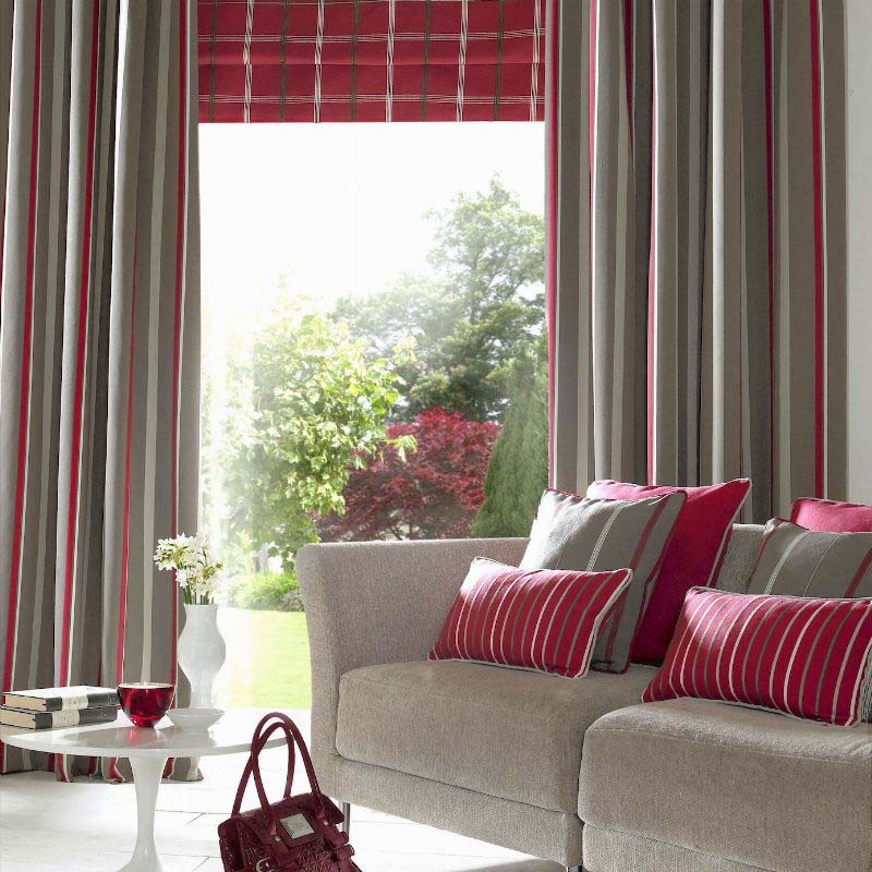 Ripple fold curtains grey red stripes