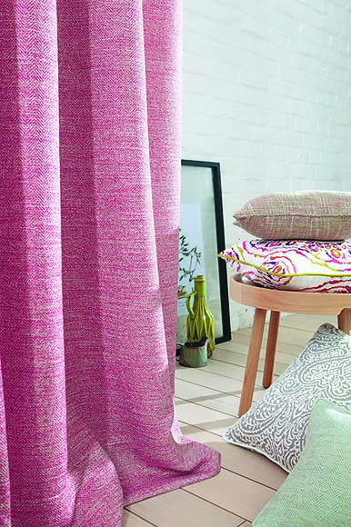 Pink curtains close up