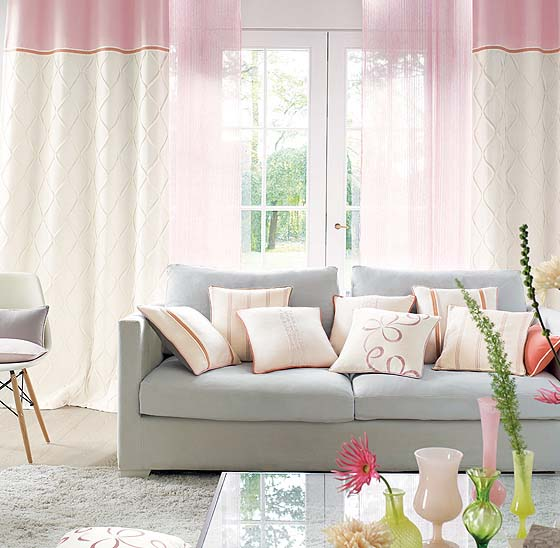 Ripple fold curtains sheer pink and grey lounge area