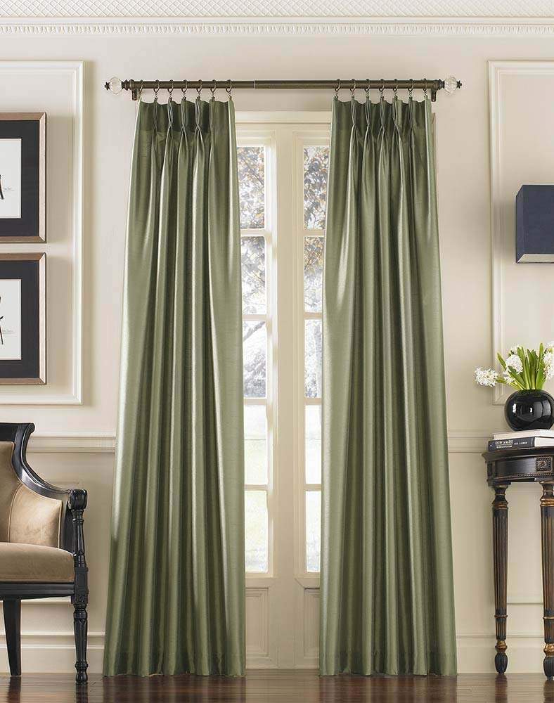 Pinch pleated curtains with curtain rod