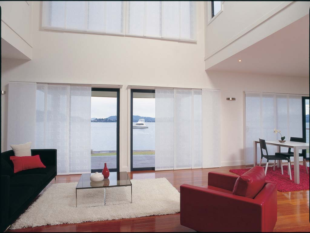Glide panel blinds living area