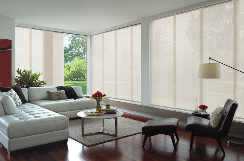 White glide panel blinds living area