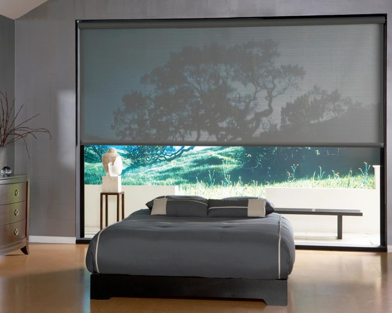 Sunscreen roller blind bedroom