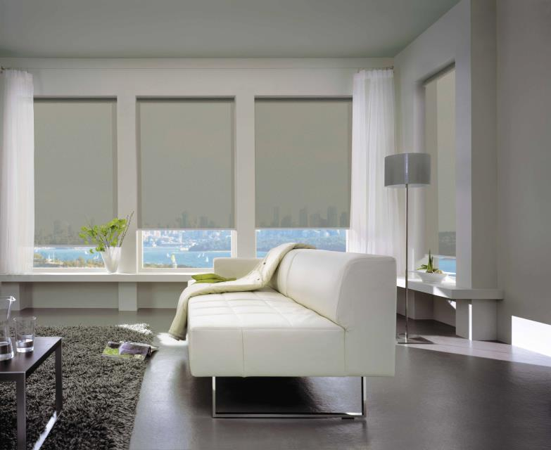 Sunscreen roller blinds white living area