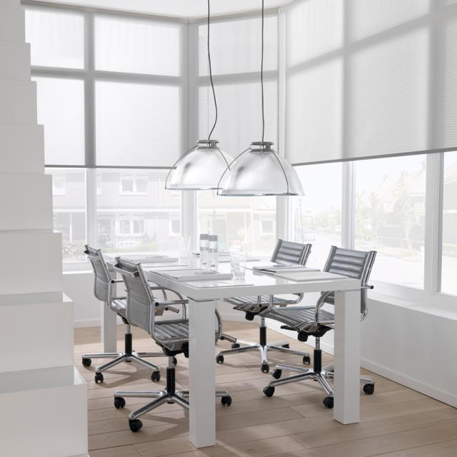 Screen roller blinds meeting area