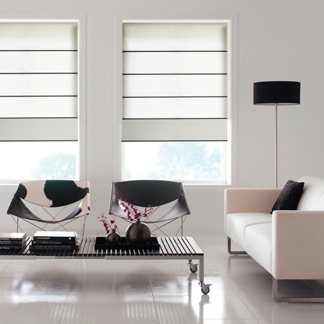 Fabric roman blinds