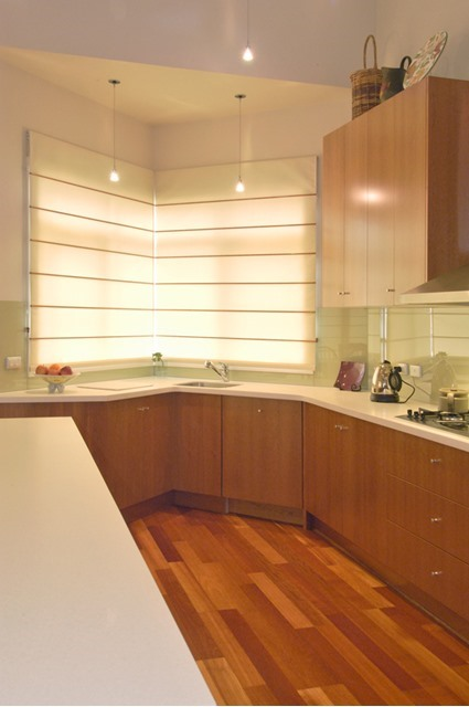 Fabric roman blinds in the kitchen