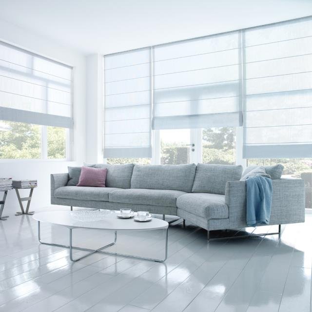 Motorised roman blinds living area