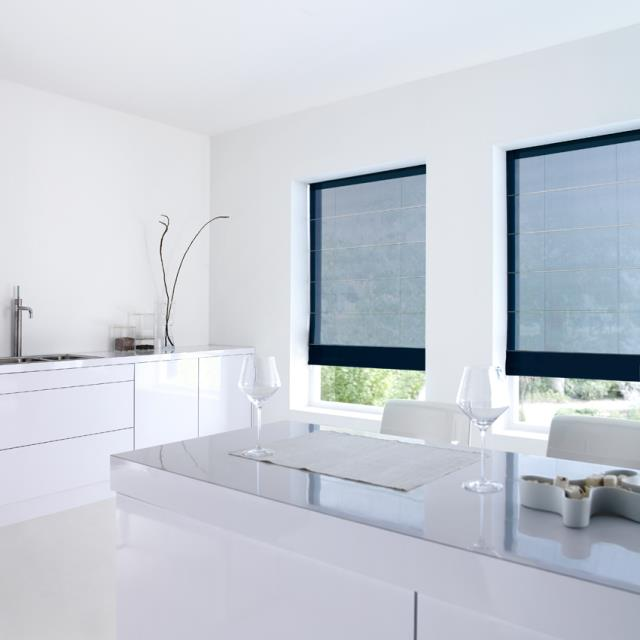 Black roman blinds and shades