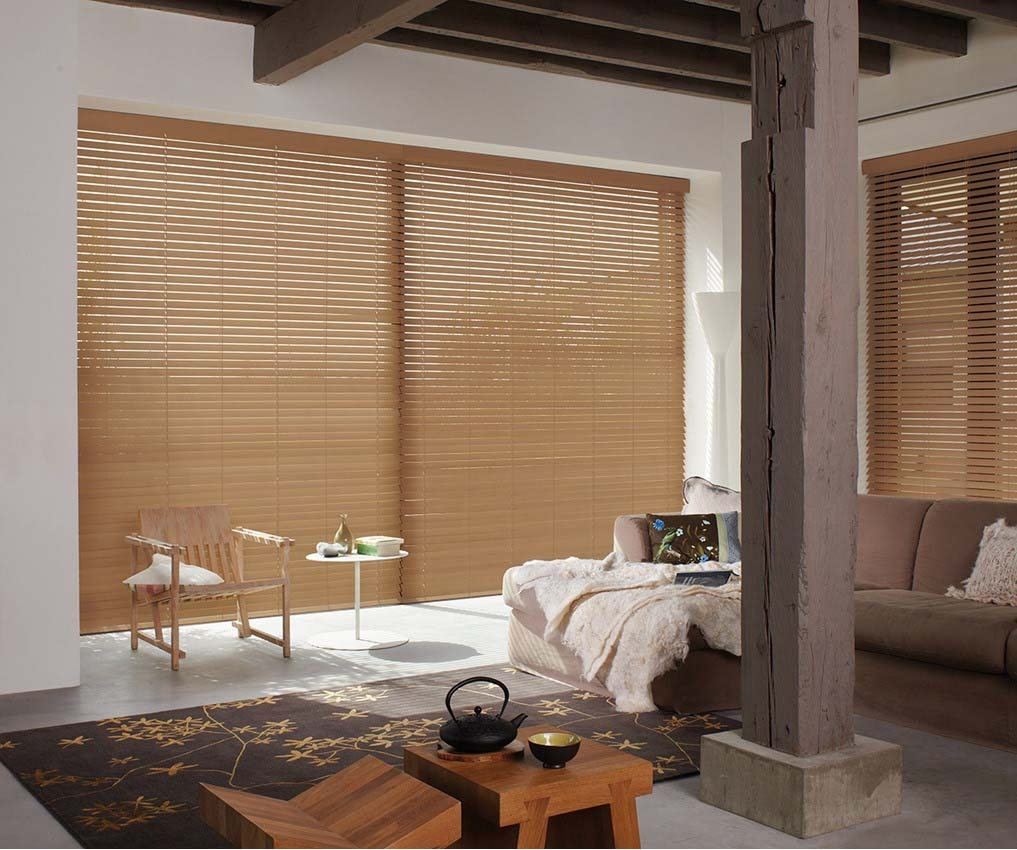 Timber Venetian blinds brown in lounge area