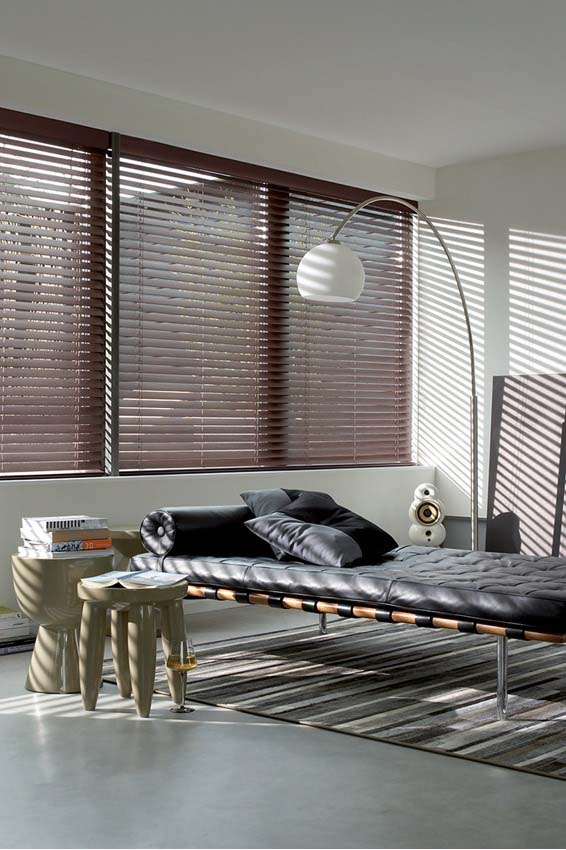Timber venetian blinds in a living area