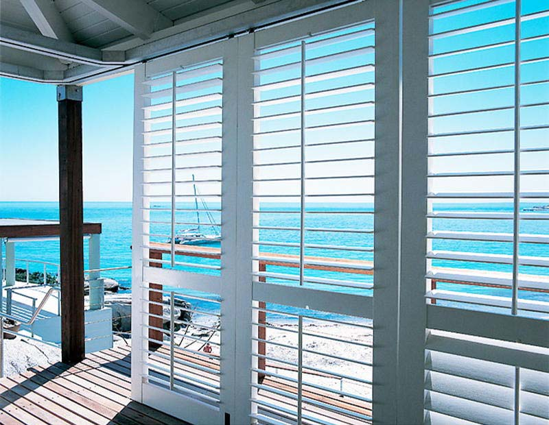 Aluminium shutters outdoor with a view