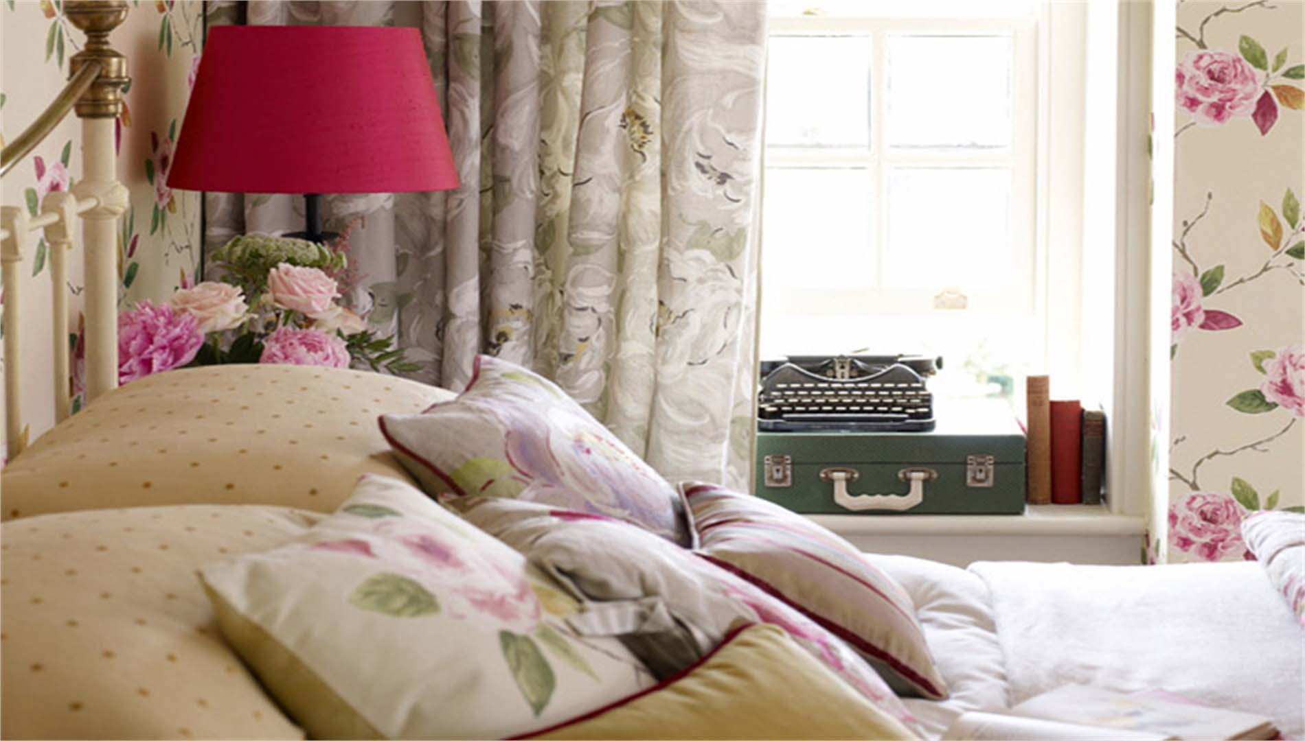 Bedroom accessories with cushions curtains and lamp