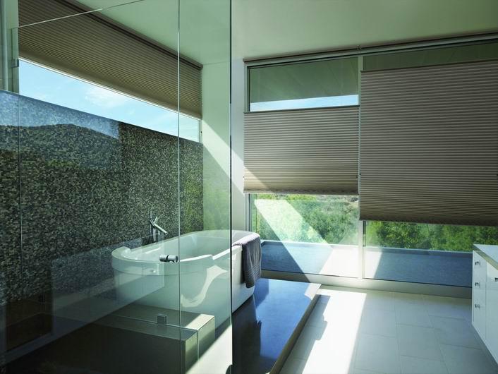 Luxaflex Duette Shades in a modern bathroom