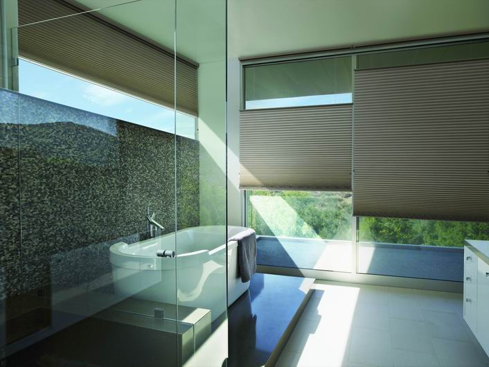 Luxaflex Duette Shades in a modern bathroom