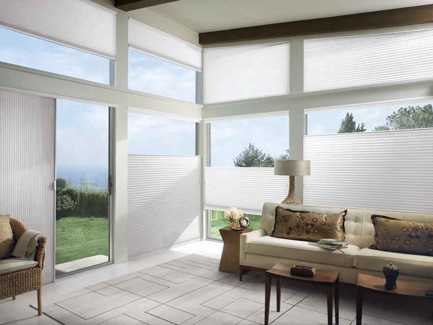 White Luxaflex Duette Shades corner