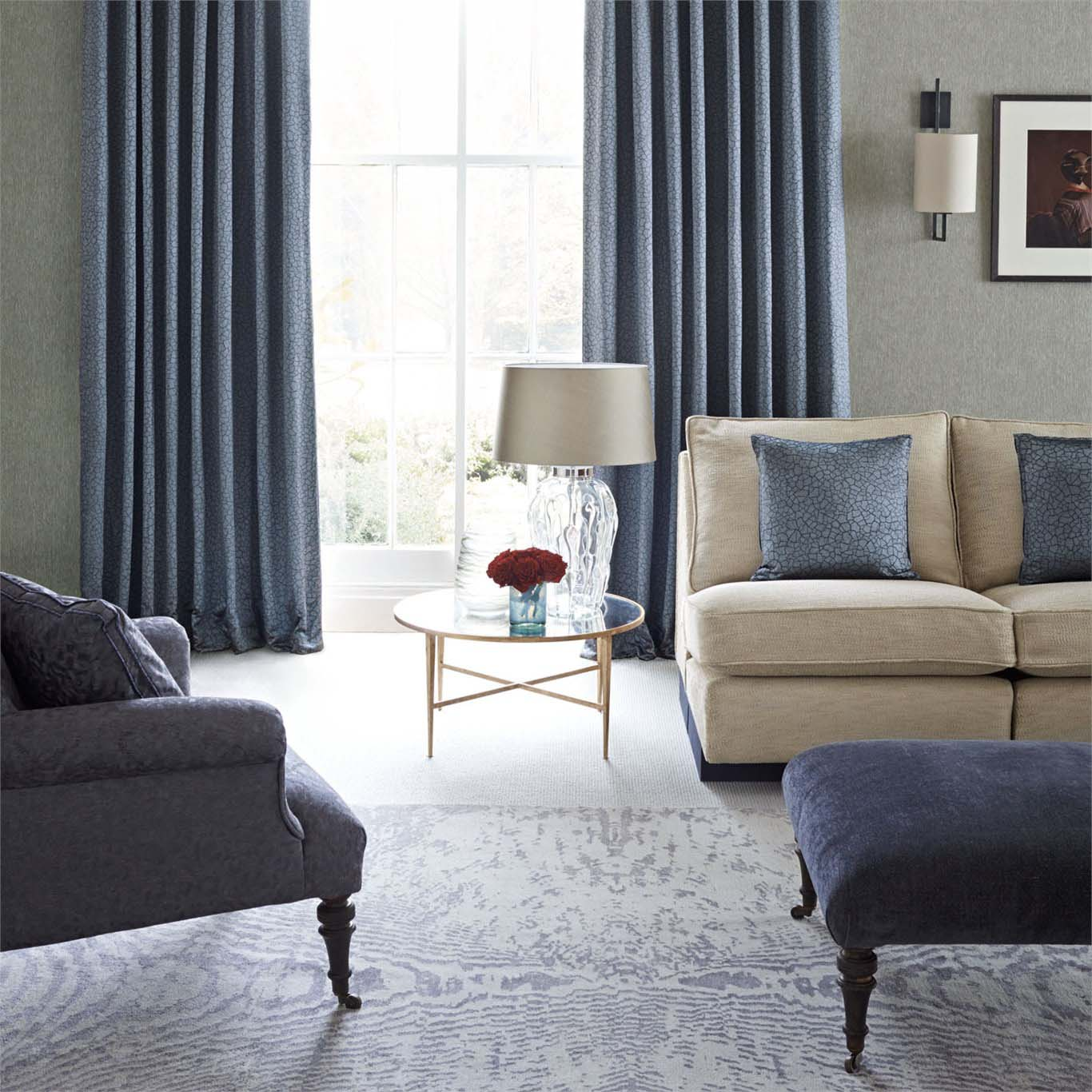 Furniture and curtains in lounge room