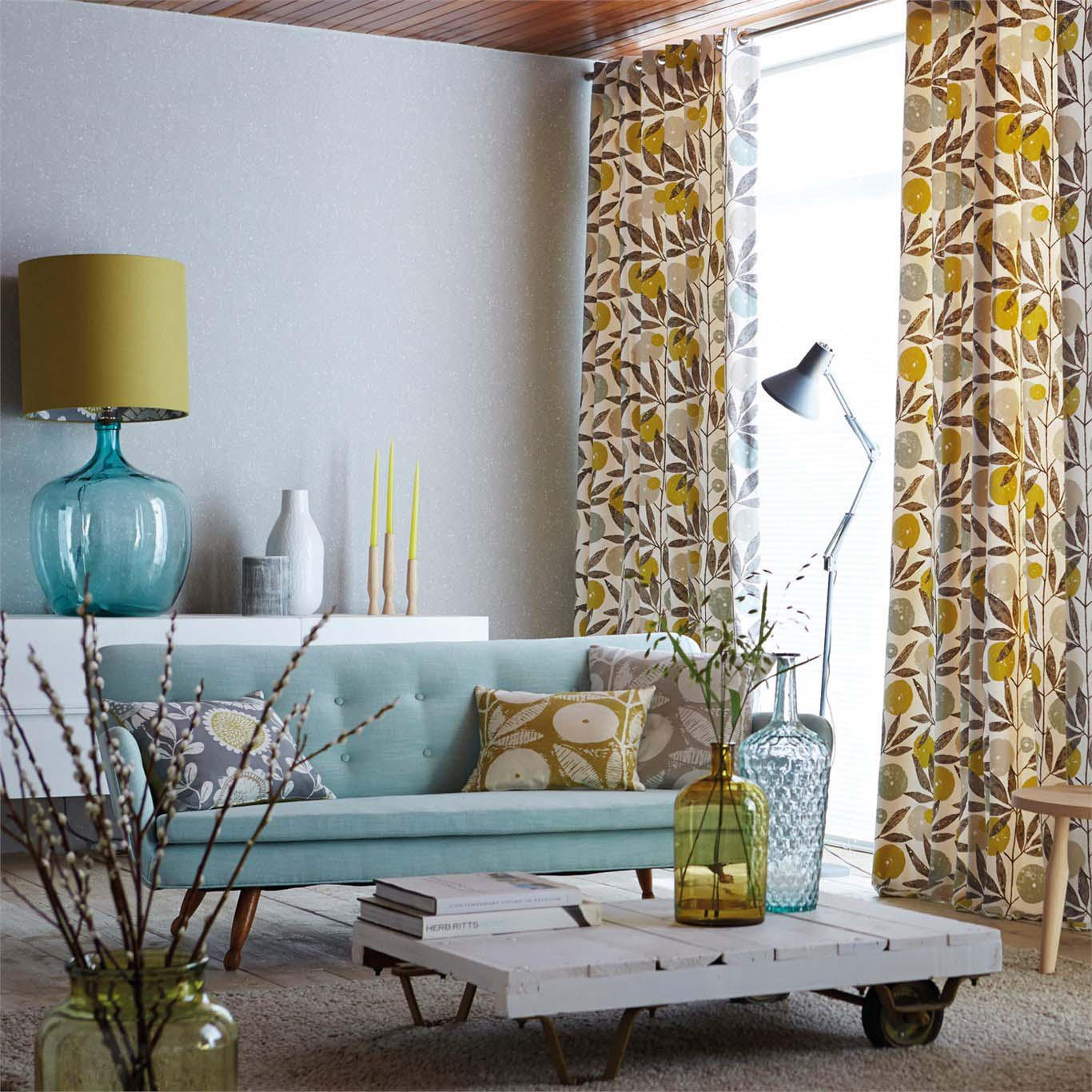 Lounge room furniture and curtains
