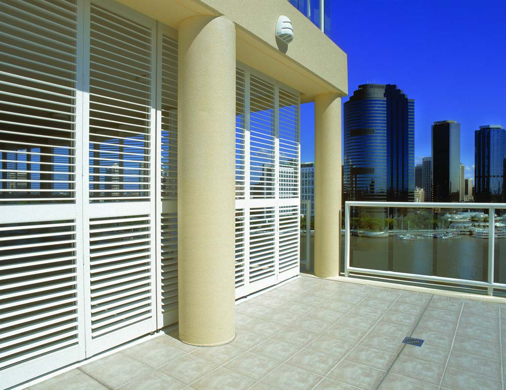 Polysatin shutters outdoors balcony with a view