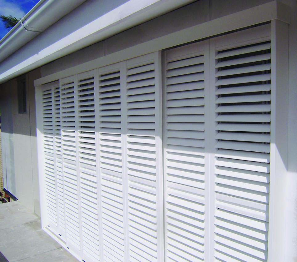 Polysatin shutters outdoors