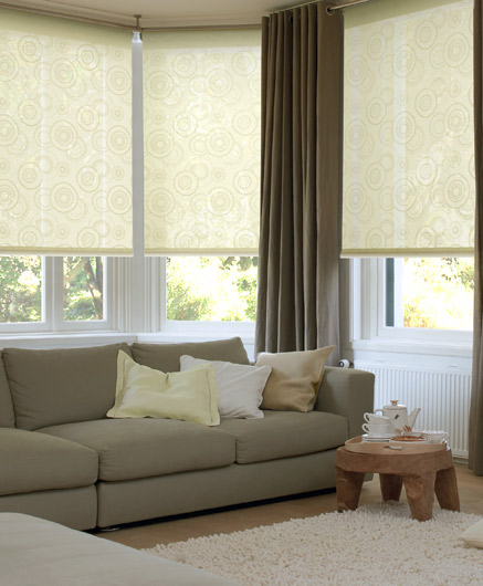 Roller blinds with a pattern