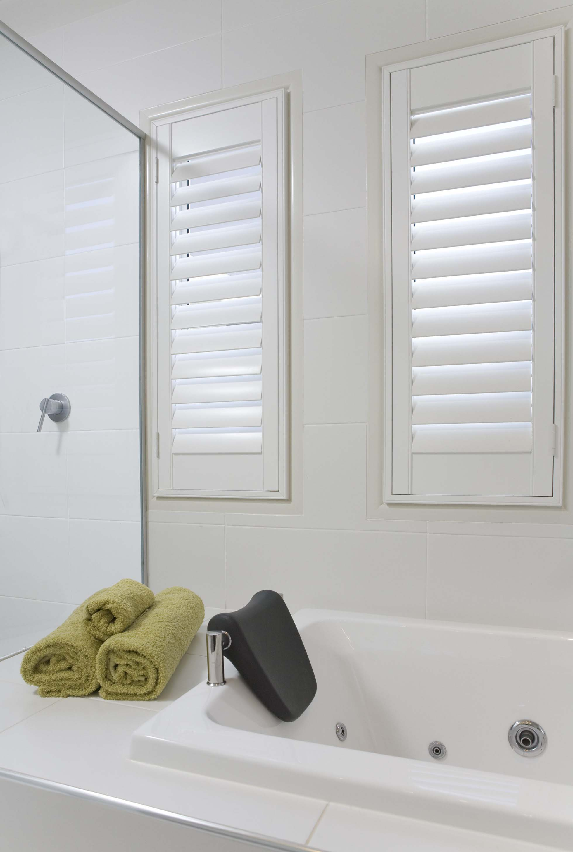 Custom bathroom shutters