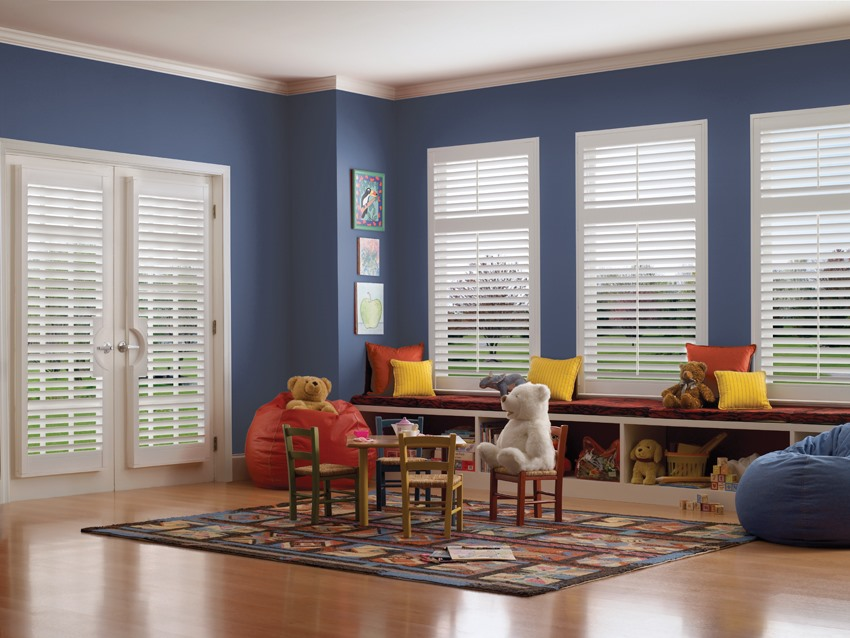 Timber shutters in children's room