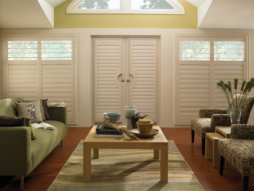 Polysatin timber shutters in lounge room