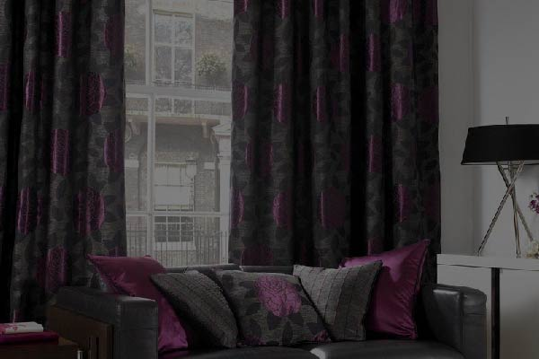 black and violet black out curtains
