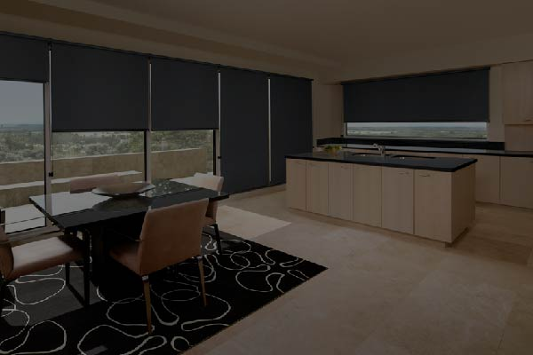 Custom made grey blinds in a dining and kitchen area